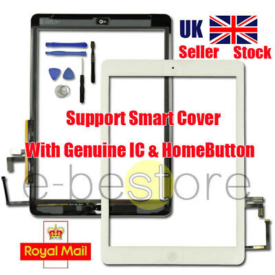 For iPad 5 Air White Touch Screen Replacement Digitizer Glass Home Button Flex