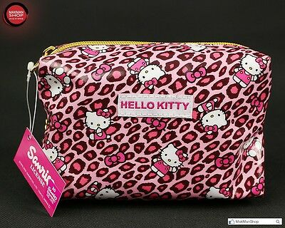 Japan Sanrio Hello Kitty  Pink leopard print pattern Pencil Pouch / Cosmetic Bag