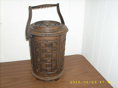 "Vintage Brown Wood Simulated 16"" tall Insulated Plastic Ice Bucket"