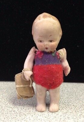 "Vintage German Bisque Tiny 2"" Jointed Doll Carrying Package"
