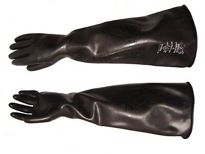 "Heavy Duty Extra Long 17"" Industrial BLACK Rubber Gauntlet Gloves Size 10 XLarge"