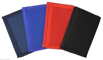Kids Mens Solid Color Tri-Fold Nylon Wallet - 12 Pack