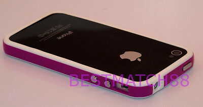 for iPhone 4 4s bumper case cover hard silicone purple white and film