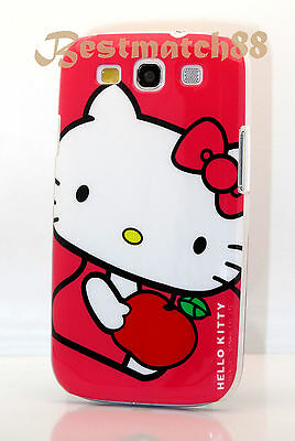 FOR SAMSUNG GALAXY i9300 S3 HELLO KITTY HOT PINK WHITE RED HARD CASE COVER//