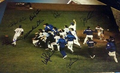 Ny mets 1986 world series champs signed celebration kiner gooden backman 12x18