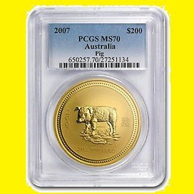 2007 Chinese Lunar Year of the PIG PCGS MS 70 AUSTRALIA 2 OZ 9999 GOLD POP  5