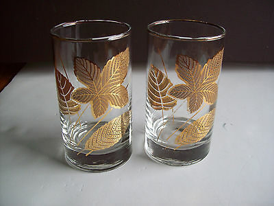 """LIBBEY Hostess Glasses GOLD LEAVES set of  2 Highball tumblers 5"""" tall"""
