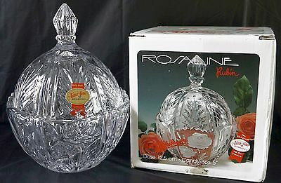 GERMAN ANNA HUTTE 24% LEAD CRYSTAL CLEAR ROSE COVERED CANDY DISH/BOWL