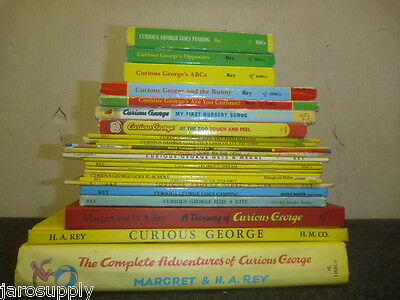 Lot of 25 Curious George H A Margaret Rey Children Kids Pics Monkey Books #A08