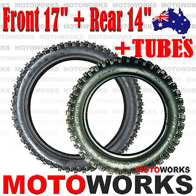 "70/100- 17"" Front + 90/100- 14""inch Rear Knobby Tyre Tire Tube PIT PRO Dirt bike"