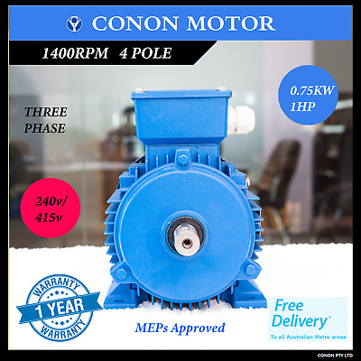 0.75kw 1.0HP  1400rpm shaft 19mm Electrical motor Three-phase 415v