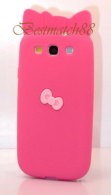 FOR SAMSUNG i9300 GALAXY S3 HELLO KITTY HOT PINK W/ 3D BOW  SILICON CASE //
