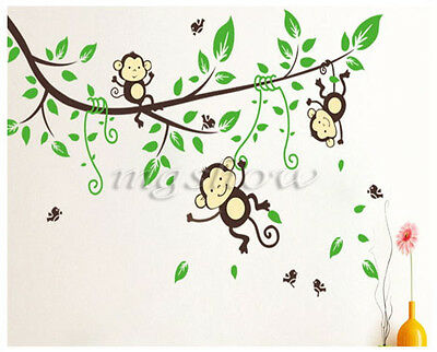 Wall Stickers Removable Mural Decals Art Decor Jungle Monkey Tree Kids Nursery