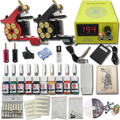 New Complete Tattoo Kit 2 Gun Machine 10 Ink Power Supply 50 Needle Set DJ13a