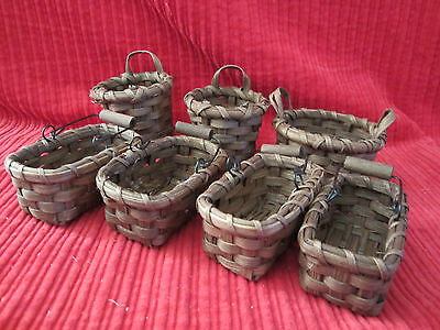 Mixed Lot of 7 Small Brown Wicker Baskets with Handles Crafts Easter Decor Dolls