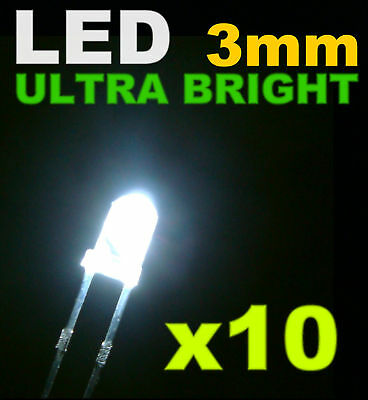 211/10# LED Blanche 3mm 10pcs + résistance -- 20000mcd