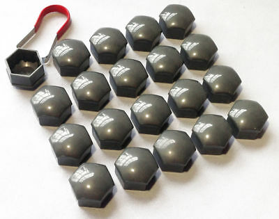 20 x 17MM ALLOY WHEEL HEX NUT/BOLT CAPS COVERS + TOOL Grey For BMW Cars