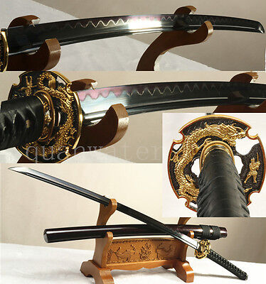 "41""FOLDED STEEL CLAY TEMPERED BLACK RED BLADE  JAPANESE SAMURAI SWORD KATANA"