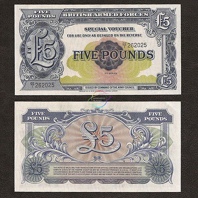 GREAT BRITAIN UK 5 Pounds, Armed Forces, 2nd Series, 1958, P-M23, UNC