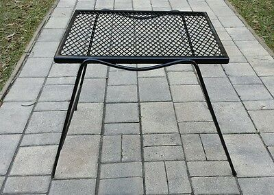 Vintage Mid Century Modern BLACK Metal Wire Mesh Top End  Side Table PLANT STAND