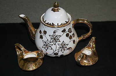 Arthur Wood Teapot with Pearl China Co. Creamer & Sugar 22kt Gold Hand Decorated