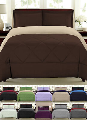 Down Alternative Comforter Reversible Bedding 3pc Set All Sizes 90 GSM 14 Colors
