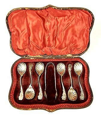 Antique 19th Cent HW Sheffield 7 Piece Sterling Sugar Spoons Tongs Leather Case