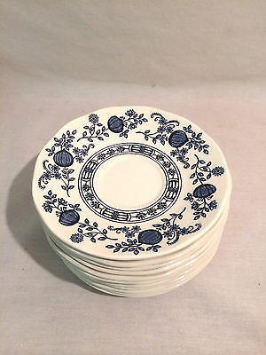 """Wedgewood Enoch Blue Onion Saucers 5 3/4"""" Set of 4 Saucers"""