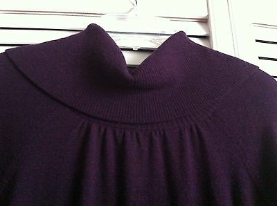 REISS Sweater Dress with Button Neck Detail, Plum, Size UK Large (US 10), EUC!