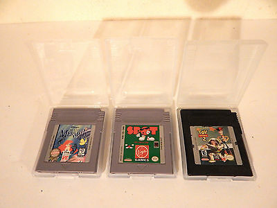 3 Gameboy video game cartidges in hard cases-Little Mermaid-Toy Story 2-Spot