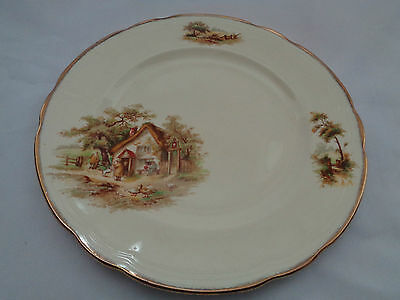 Vintage Alfred Meakin England Country Farm Cottage Scene The Rest Bread Plate