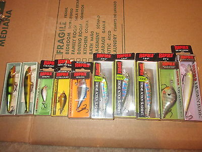 10 VINTAGE RAPALA FISHING LURES X-RAP FAT RAP DT-6 HUSKY JERK RAINBOW HJ-10 LOT