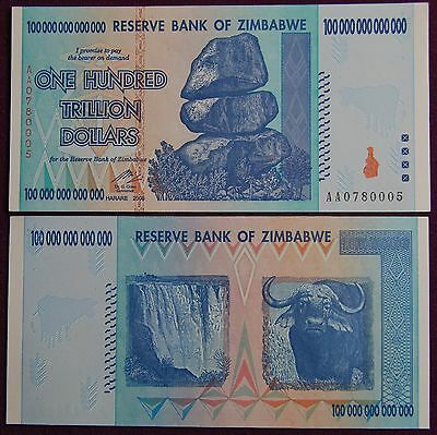 6X Zimbabwe 100 Trillion Dollars Currency 2008 Aa Series! (Over 50 In Stock!)