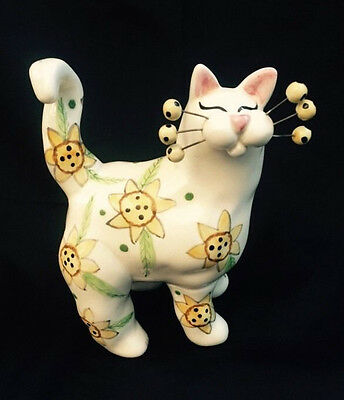 2002 Annaco Creations Whimsical Yellow Floral Cat  Figurine by Lacombe EUC