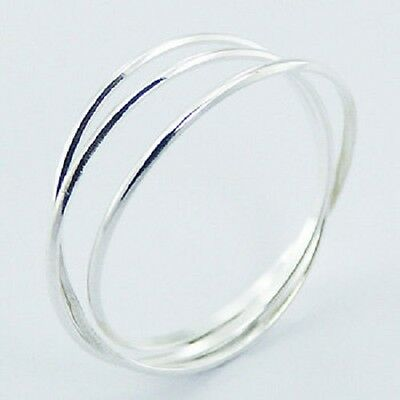 Silver ring interlocked triple 925 sterling delicate band ring size 5us to 12us