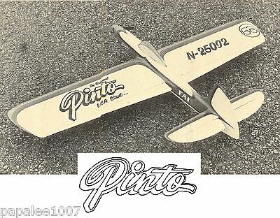 """Model Airplane Plans (UC): PINTO 1/2A 34"""" Stunt + magazine article"""