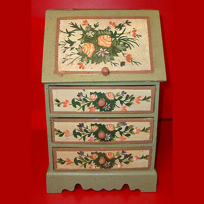 VTG Handpainted Wooden Chest Storage Box Decorative Rustic Country Green