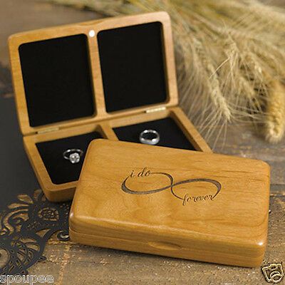 Wedding Ring Box Timber Wood Infinity I Do Forever Pillow Page Boy Ring Bearer