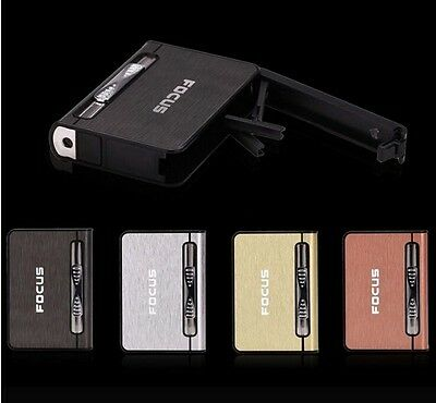 Focus Automatic Ejection Cigarette Holder Cover Case W/ Internal Butane Lighter