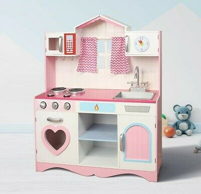 MCC® Large Girls Kids Pink Wooden Play Kitchen Children's Play Pretend Set Toy
