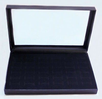 Ring Display Jewelry Tray Black Velvet Pad Box 36 Slot Insert Holder Show Case
