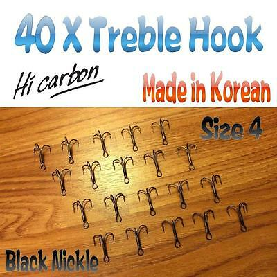 40X  Treble Hook Size 4 Chemically Sharpened High Carbon  Black Nickel