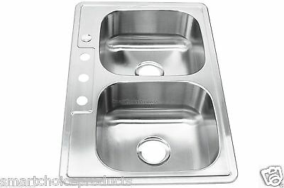 """Stainless Steel 7"""" Depth Top Mount Drop-In Double Basin Bowl 50/50 Kitchen Sink"""