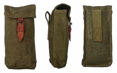 Ex-Army Long Ammo Pouch To Fit Belt Webbing Rainproof Canvas & Leather Vintage