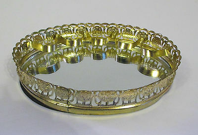Vintage  Metal / Brass Mirrored Oval Vanity Tray With  5 Lipstick Tube Holders