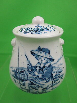 Antique Childs Staffordshire Blue Transfer Covered Nursery Jar - Girl Fishing