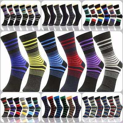 Lot of 6 Pairs New Cotton Men Striped Style Dress Socks Size 10-13 Multi-Colors