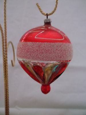 Vintage Glass blown Christmas ornament HOT AIR BALLOON SHAPE in red/green/silver