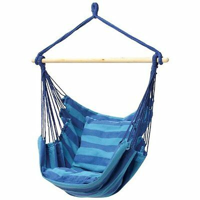 Swing Seat Hammock Chair Blue Cotton Hanging Rope Porch Sky Patio Camping Decor