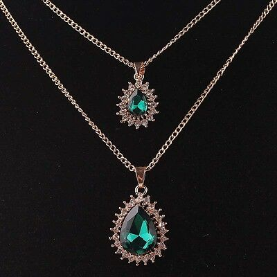 """Woman Gold Filled Austrian Crystal Pendant Pretty 30""""Dress Chain 2 Necklace B766"""